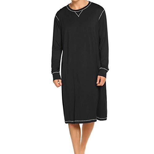 Herren Langarm Schlafanzug Schlafoveralls Nachtwäsche V-Ausschnitt Knielang Schlafkleid nachthemden Kurz Pyjama Oberteil für Männer Sommer (schwarz, XL)