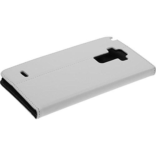 PhoneNatic Kunst-Lederhülle kompatibel mit LG G4 Stylus - Book-Hülle weiß + 2 Schutzfolien