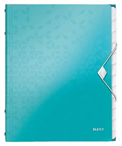Leitz 46340051 Ordnungsmappe WOW, 12 Fächer, PP, eisblau