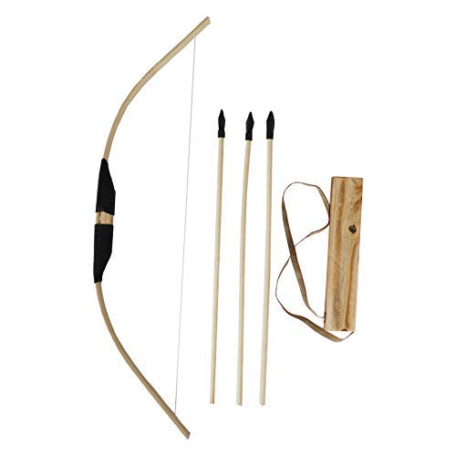 MISSSIXTY Toy Bamboo & Wooden Bow and Arrow Set with Quiver and 3 Rubber Tipped Arrows - for Kids Children Youth Indoor and Outdoor Play