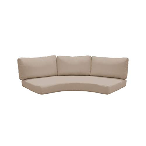 TK Classics Covers for Low-Back Curved Armless Sofa Cushions 6 inches Thick Wheat