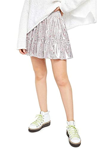 Free People Womens Metallic Floral Bubble Skirt Lavender Combo S