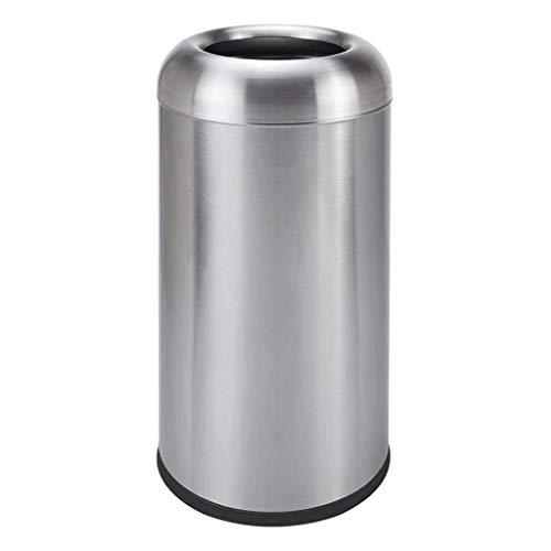 Bote de Basura Grande Abrir papelera Arriba ¿calibre pesado Grado Comercial Papelera cepillado de acero inoxidable Acabado de gran capacidad Cubo de basura de la basura al aire libre durable Puede Bot