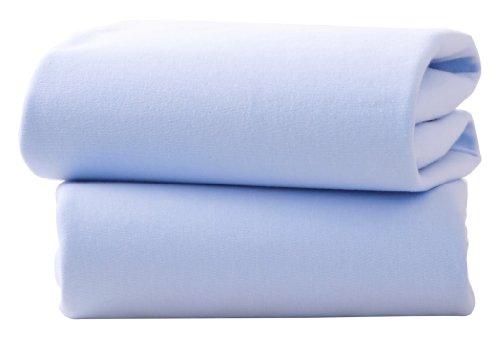 Clair de Lune Bettlaken Baumwolle Jersey Spannbettlaken für Kinderbett Blatt (2Stück, blau)