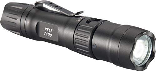 PELI 7100 Linterna táctica LED recargable por USB de alto rendimiento, Sumergible IPX8, 695 Lúmenes, Color: negro, 13 x 3 x 3 cm (071000-0000-110E)