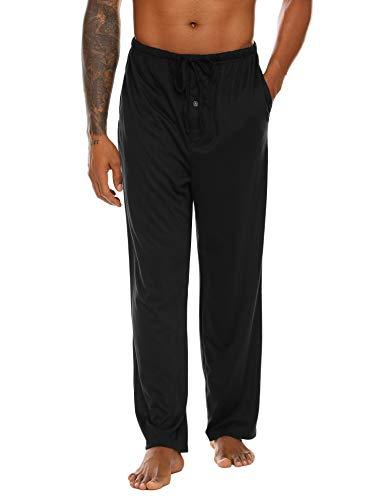 ADOME Pyjamahose Herren Lang Freizeithose männer Baumwolle Schlafanzughosen mit Elastischem Bund Einfarbige Nachtwäsche Relaxhose
