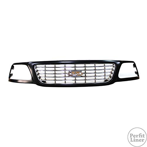 Perfit Liner New Replacement Parts Front CHROME CHROME/BLACK Grille Grill Compatible With F-150 Heritage SVT Lightning 3L3Z8200AC FO1200423