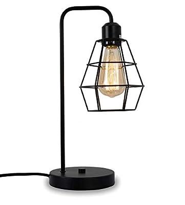 Industrial Table lamp,Black Vintage Edison Desk Light?Farmhouse Desk Lamps, Metal Shade Cage Desk Lamp for Nightstand, Bedside, Office,Bedroom,Living Room
