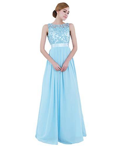 iiniim Mujer Vestido Largo Floreado de Fiesta Boda Vestido Vintage Retro Elegente Dama de Honor de Novia Encaje Traje de Gasa para Mujeres Varias Tallas Azul de Cielo 34