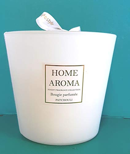 Gran vela perfumada de Patchuli, 13,5 x 12,5 cm, 3 mechas, 620 g, larga duración de combustión, 120 horas, cristal blanco mate con cinta