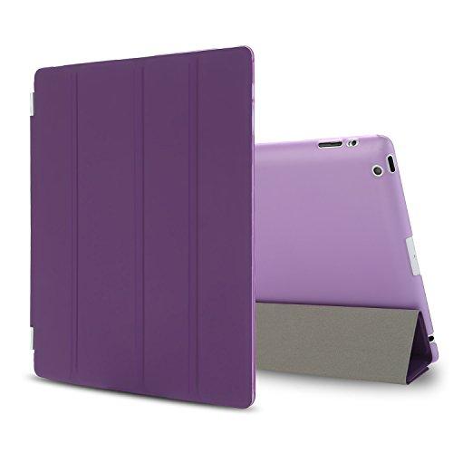 Besdata iPad 2 3 4 Hülle Smart Cover Schutz Hülle Leder Tasche Etui für Apple iPad Ständer Sleep Wake mit Bildschirmschutzfolie Reinigungstuch Stift Lila
