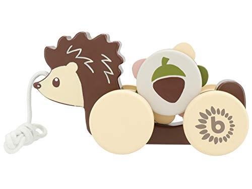 Bieco Nachzieh Igel Holz | Nachziehspielzeug ab 1 Jahr | Süßes Nachziehtier aus Holz | Baby Spielzeug Holz Igel zum Nachziehen | Ziehtiere Holz ab 1 Jahr | Holzspielzeug Nachzieh-Igel mit Zahnrad