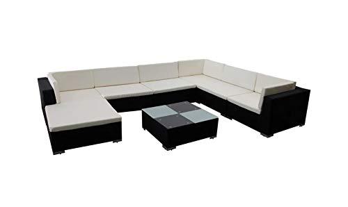 Set di mobili da giardino con divano e tavolino basso, divano angolare con cuscino rimovibile, per giardino, cortile, terrazza, balcone, hotel