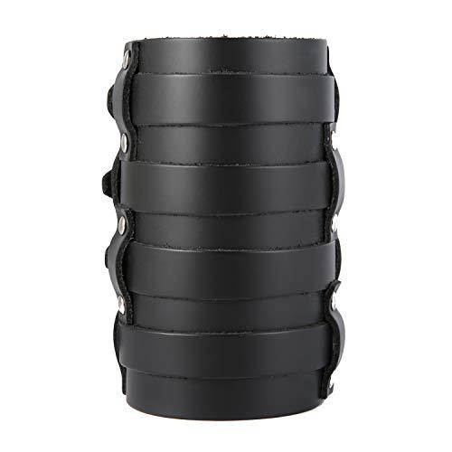 HZMAN Mens Leather Wide Triple Strap Cuff Wrap Gauntlet Wristband Buckle Fastening Arm Armor Cuff 4 Rows (Black)