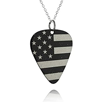 Black and White American Flag Guitar Pick Pendant Necklace Coated Stainless Steel 18  Sterling Silver Chain