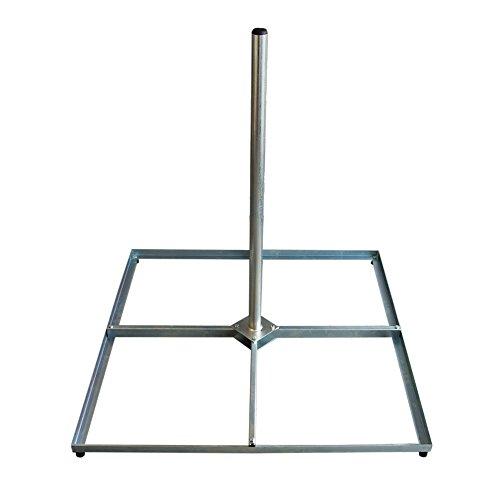 PremiumX SAT Balkonständer 4x 50x50cm Stahl verzinkt 1m Mast Flachdachständer Terassenständer Standhalter für Satelliten-Antenne