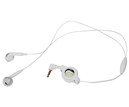 White Retractable Stereo Headset Mic Hands-free Earbuds Headphones Earpieces for MetroPCS ZTE Obsidian - MetroPCS ZTE ZMax - MetroPCS ZTE ZMax Pro