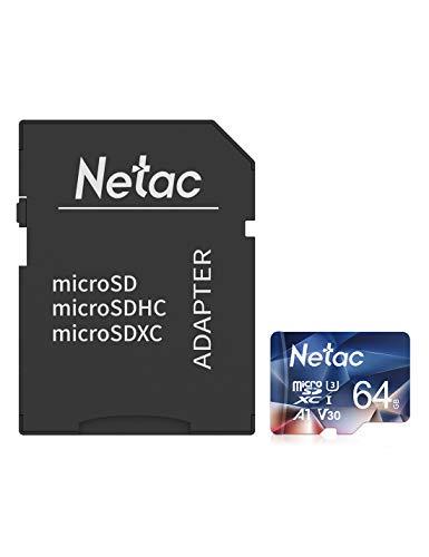 Netac Tarjeta de Memoria de 64GB con Adaptador, Tarjeta Memoria microSDXC(A1, U3, C10, V30, 4K, 667X) UHS-I Velocidad de Lectura hasta 100 MB/s, Tarjeta TF para Móvil, Cámara Deportiva, Dashcam