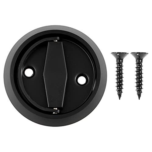 TTAO Round Recessed Door Drawer Pulls with Screws Fireproof Door Handle Knob Stainless Steel 304 Doorknobs for Wardrobe Closet Cabinet Black One Size