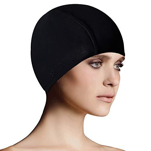 BALNEAIRE Lycra Swim Cap for Women & Men Spandex Swimming Caps Black
