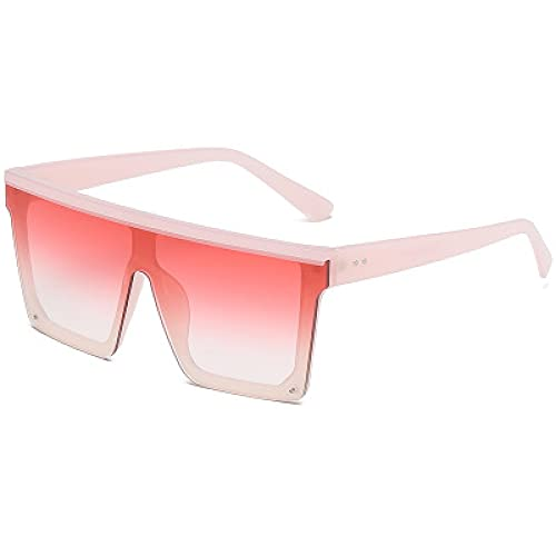 Moda Gafas De Sol De Gran Tamaño con Parte Superior Plana para Mujer, Sin Montura, Gafas De Sol para Mujer, Marca De Lujo, Gafas De Sol Cuadradas Vintage, Uv400, Espejo Degradado Rosa