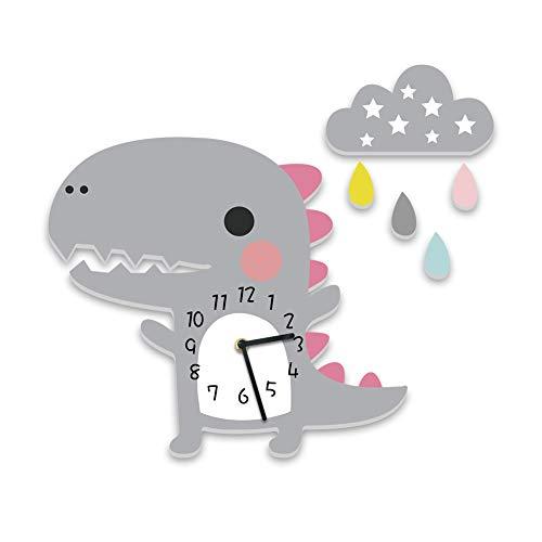 Reloj de pared infantil con diseño de dinosaurio, reloj sin ruido de tictac, mecanismo silencioso, decoración de pared para niños y niñas (gris dinosaurio)