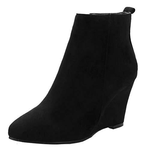 AIYOUMEI Damen Samt Wedge Ankle Boots High Heels Keilabsatz Stiefeletten mit Absatz 8cm Bequem...