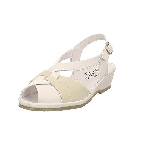 LONGO Damen Sandale/Sandalette LG Weiss/Creme (Weiß) 1006434