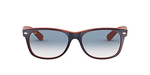 Ray Ban Unisex Sonnenbrille New Wayfarer, Gr. Large (Herstellergröße: 55), Blau (blau orange 789/3F)