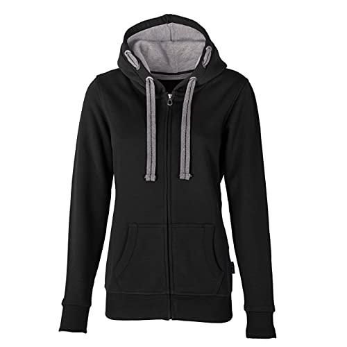 HRM Damen Hooded Jacket, schwarz, Gr. 2XL I Premium Kapuzenjacke Damen mit Kontrast-Innenfutter I Basic Hoodie mit Reißverschluss I Zip Hoodie I Hochwertige & nachhaltige Damen-Oberteile