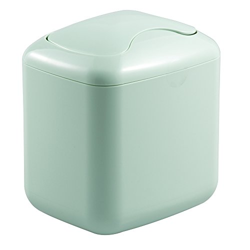 mDesign Modern Plastic Square Mini Wastebasket Trash Can Dispenser with Swing Lid for Nursery Changing Table, Countertop, Tabletop - Dispose of Wipes, Tissues, Cotton Swabs - Mint Green