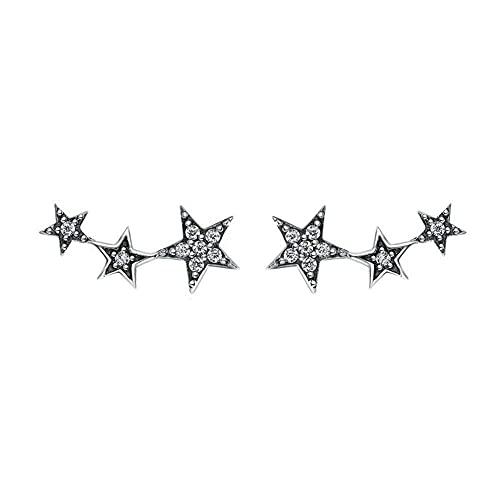 SMEJS Pendientes de plata de ley 925 para mujeres y niñas con pendientes de circonita de 3 estrellas Joyas