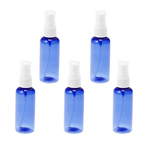 Lurrose 50ml vide atomiseur en plastique bleu vaporisateur rechargeable monsieur bouteille pour échantillon de voyage, 5pcs