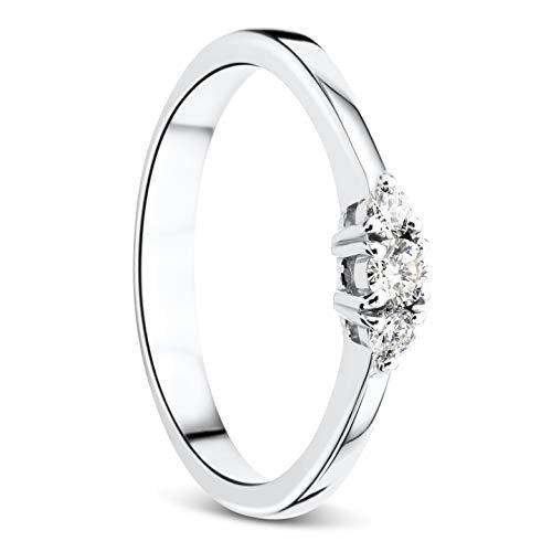 Orovi Damen Diamant Ring Weißgold, Verlobungsring 18 Karat (750) Gold und Diamanten Brillanten 0.15 Ct, Trio Diamant Ring Ring Handgemacht in Italien
