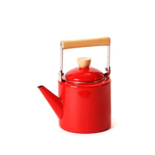 DZX 2.4LTea Pots Red Enamel Gas Kettle with Wooden Handle for Induction Hobs Gas (Color : Red),Best Whistling Tea Kettle