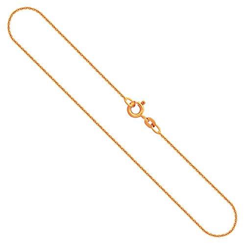 Goldkette Damen Echtgold 1,1 mm, Ankerkette rund aus 375 Gelbgold, Kette Gold mit Stempel und Federringverschluss, 42 cm Länge, Gewicht ca. 1.6 g, Made in Germany