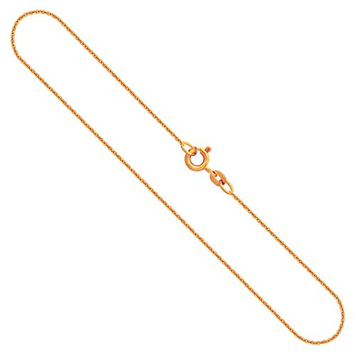Goldkette Damen Echtgold 1,1 mm, Ankerkette rund aus 333 Gelbgold, Kette Gold mit Stempel und Federringverschluss, 42 cm Länge, Gewicht ca. 1,5 g, Made in Germany