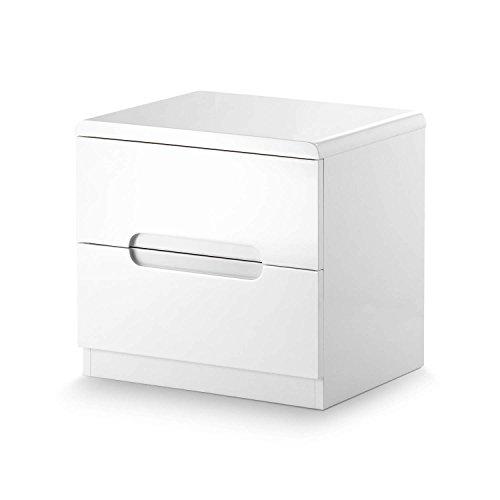 Julian Bowen Manhattan, lucido, comodino con cassetti, legno, bianco