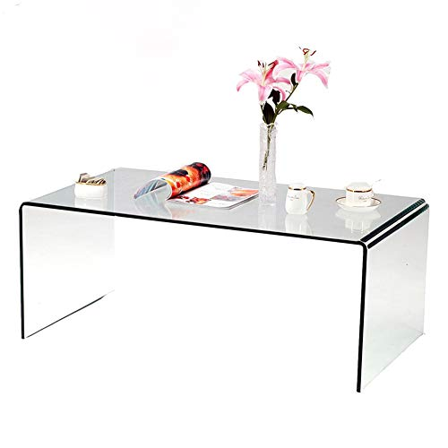 SMARTIK 1/2 Inch Thicken Tempered Glass Coffee Tables, Modern Decor Clear Coffee Table for Living Room, Easy to Clean and Safe Rounded Edges (Medium 39.3' x 19.6' x 13.78')