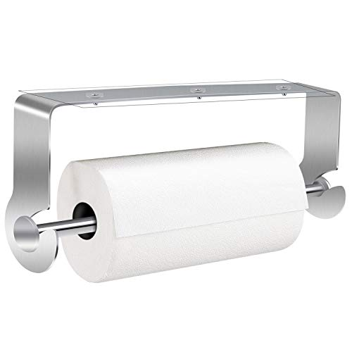 Paper Towel Holder with Adhesive Under Cabinet Drilling Free amp Wall Mounted Removable Rustproof Stainless Steel Paper Roll Shelf for Home Kitchen Bathroom Easy Tear Silver
