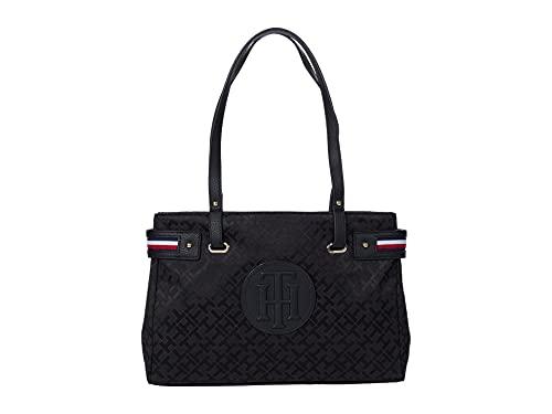 Tommy Hilfiger Izzy II Shopper Geometric Jacquard Black Tonal One Size