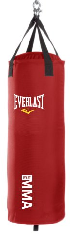 Everlast 70-Pound MMA Poly Canvas Heavy Bag (Red)