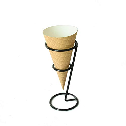 Ice Cream Cone Holder Stand, Black Metal Waffle Cone Holder for Mini Ice Cream Cones Snow Cone Hand Roll Sushi Popcorn Sweets Savory(Type 1)