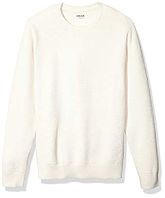 Amazon Brand - Goodthreads Men's Soft Cotton Thermal Stitch Crewneck Sweater, Vintage White Large from Goodthreads