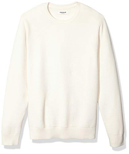 Amazon Brand - Goodthreads Men's Soft Cotton Thermal Stitch Crewneck Sweater, Vintage White XX-Large