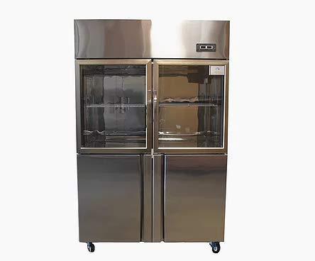 Commercial 4 door Refrigerator & Freezer Combo Dual tempreature zone reach-in Glass door Cooler