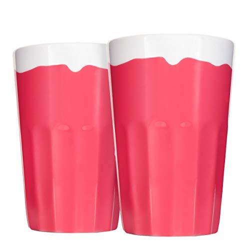 Mahlwerck Porzellan Latte Macchiato Becher, Kaffee-Tasse Candy-Rim Look, Pink, 400ml, 2er Set