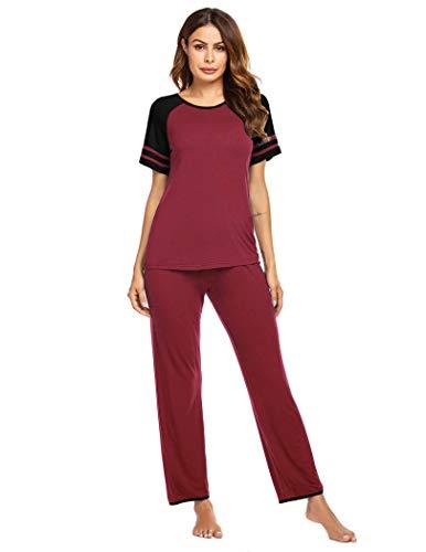 Ekouaer Womens Two Piece Pajama Pj Pant Set Cotton Short Sleeve Sleepwear Pj Sets Wine Red Small