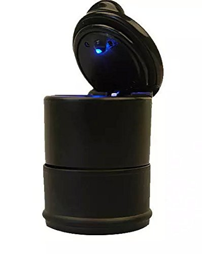 Goliton? LED Portable Car Truck Auto Office Cigarette Ashtray Holder Cup - Black