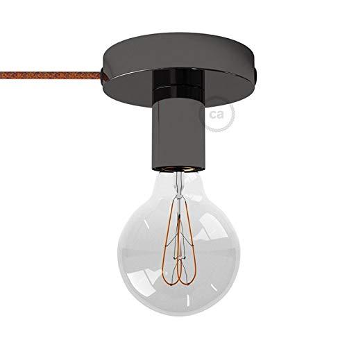 Spostaluce, Source de lumière en métal Noir perlé avec câble Textil et Trous latéraux - RX07 Coton Indian Summer